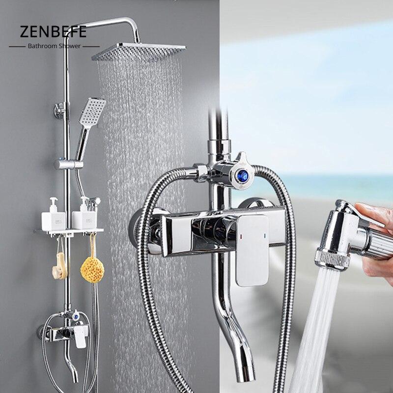 ZENBEFE-نظام دش مثبت على الحائط للحمام ، خلاط مطر مطلي بالكروم