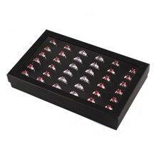 Portable mode Transparent 36 fentes anneaux présentoir en métal boucles doreilles Bijoux boîte de rangement boîte de rangement Bijoux vitrine