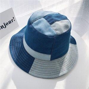 Summer Harajuku Patchwork Denim Bucket Hat Vintage Fishermen Hat Men Women Travel Caps Beach Sun Hats Cowboy Hat High Quality