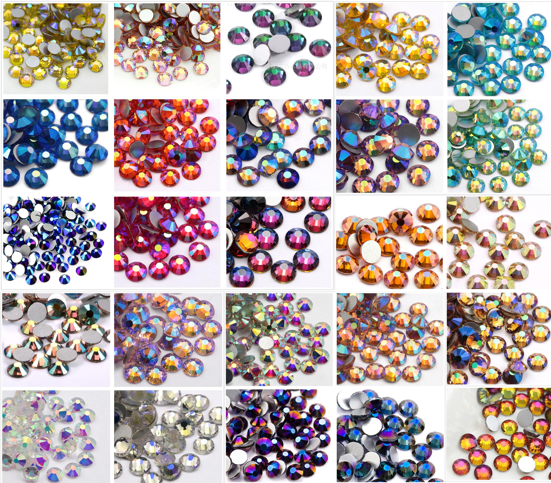 1440 peças SS5-SS20 ab cor resina lisa brilhante, pedrinhas facetadas, enfeites de brilho diy, strass de cristal de vidro, atacado