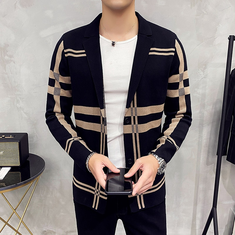 Men's Knitted Sweater Jacket 2021 men Fashion High Quality Brand Slim Striped Long Sleeve Suit Collar Cardigan Wool Jacket