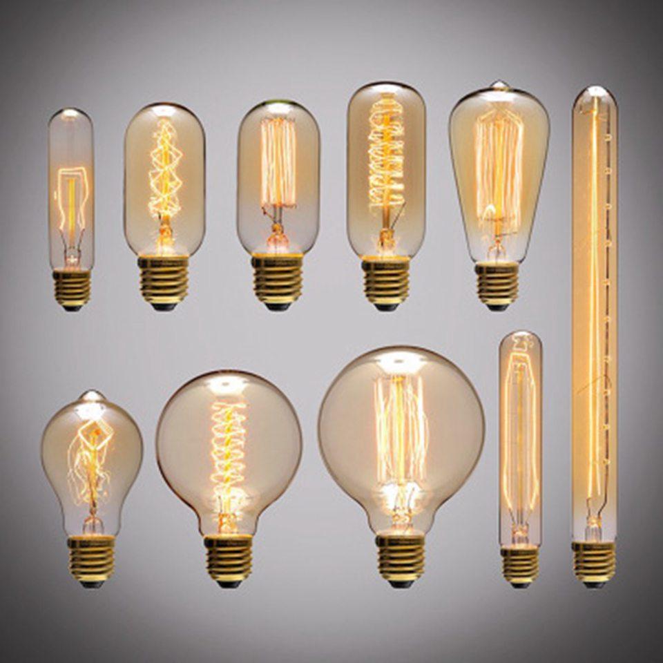 Светодиодная диммируемая Ретро лампа Эдисона E27 220В Золотая спиральная нить ST64 A19
