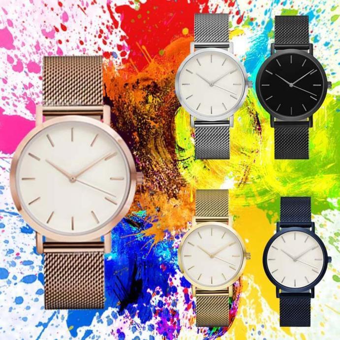 Relojes de moda para mujer, de oro, correa superior de acero inoxidable, de malla, de cuarzo, 2020