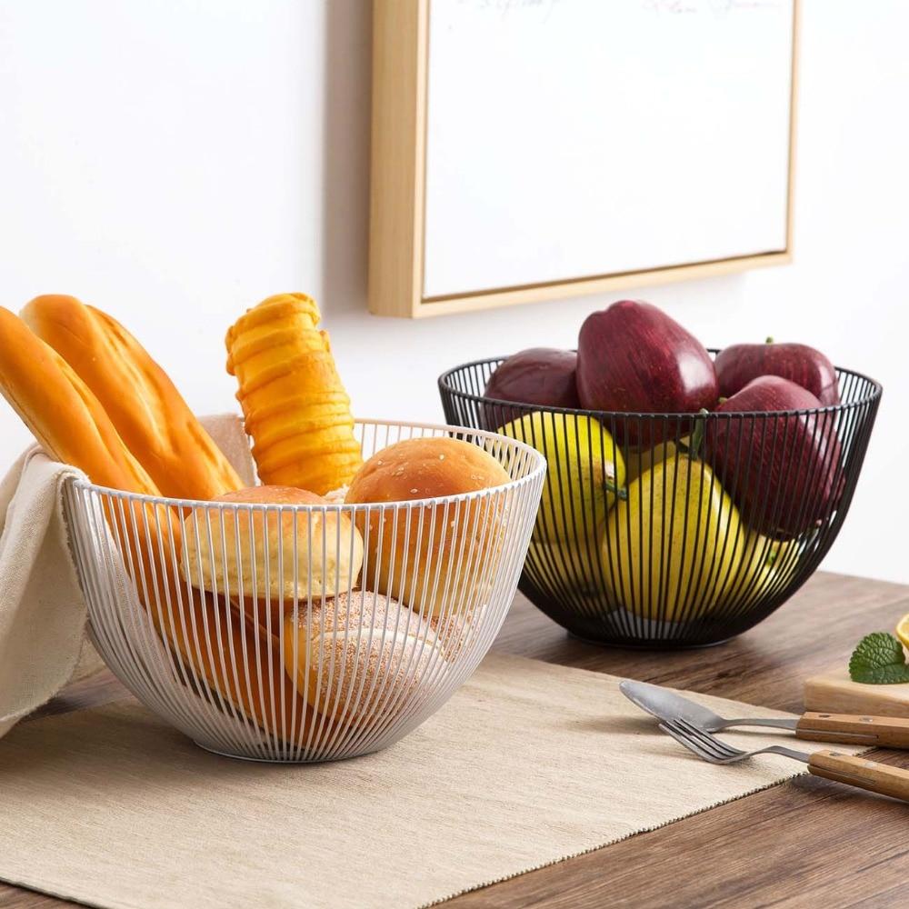 Storage Basket Fruit Snacks Candy Tray Plate Desktop Bedroom Kitchen Organizer Holder Stainless Steel