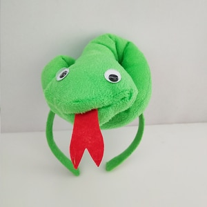 Kids Adult Green Snake Costume Headwear Cosplay Set Carnival Birthday Party Halloween Animal Headband Bow Tie Tail