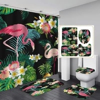 pink flamingo on palm leaves polyester fabric shower curtain non slip bath mat toilet lid cover rugs home bathroom decor set