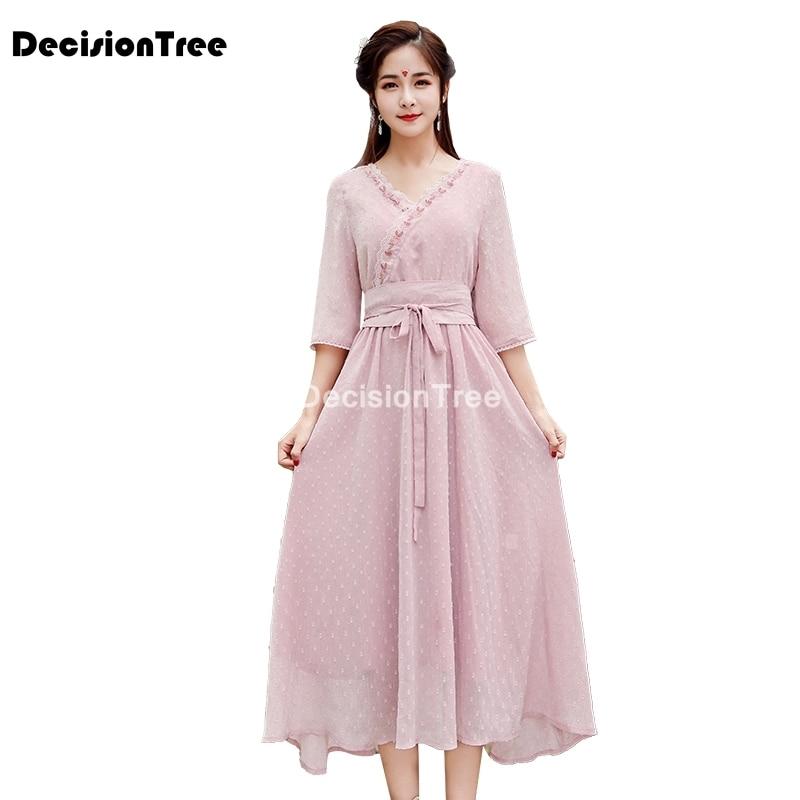 ملابس شرقية على الطراز الوطني القديم لعام 2021 فستان هانفو محسّن فستان نسائي شبكي بطبقتين ملابس آسيوية يابانية
