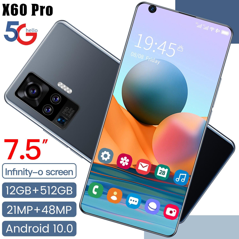 هاتف ذكي X60 Pro 7.1 بوصة Andriod 10.0 شاشة كبيرة 12 + 512gb 21 + 48 ميجابكسل 10 Core هاتف ذكي عالمي 5g Lte 5600mah هاتف محمول Mtk6799