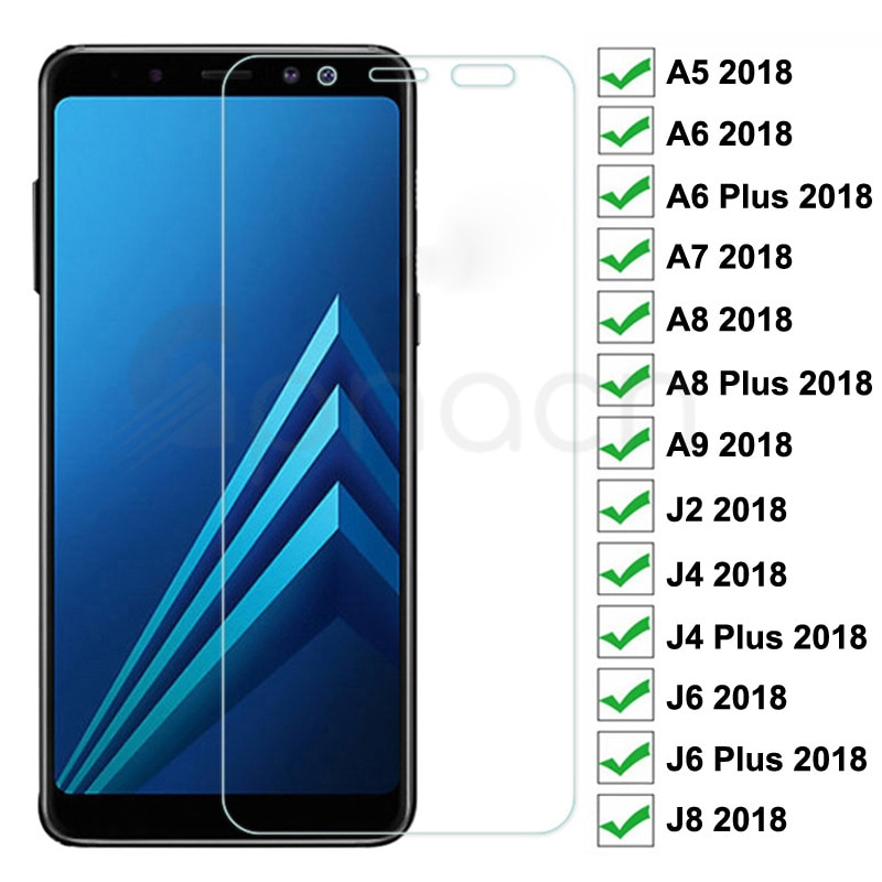 9H Protective Glass For Samsung Galaxy A6 A8 J4 J6 Plus 2018 Screen Protector J2 J8 A5 A7 A9 2018 Sa