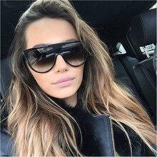 Oversized Flat top Sunglasses Women Brand Designer Retro lunette soleil femme Big Frame Sun glasses