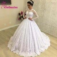 robe de mariee ball gown lace wedding dress long sleeves vestido de noiva 2020 bride dress luxury bridal gowns