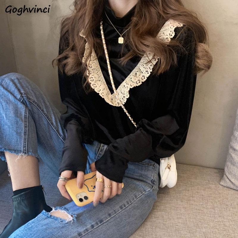 Camisas femininas doce rendas retalhos retro plus size 3xl solto lazer feminino gola alta elegante feminino all-match moda ulzzang