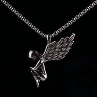 secret boys 1pc personality retro gothic angle wings 316l stainless steel pendant necklace jewelry