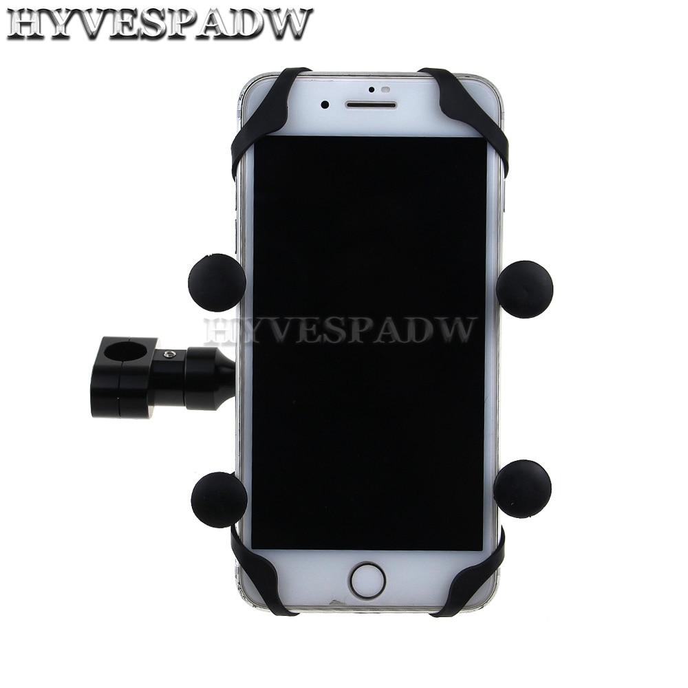 Motorbike Handlebar Clip Stand Mount Cell Phone Holder Bracket Universal Motor Rear View Mirror Phone GPS Holder
