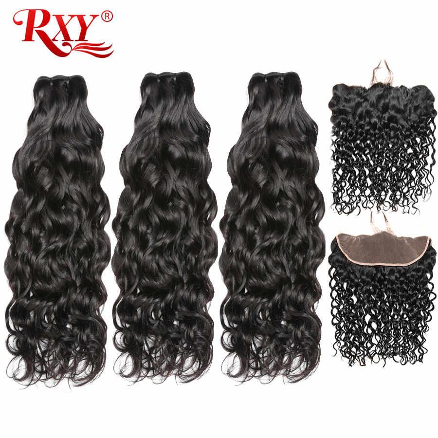 Rxy Water Wave Bundles With Frontal Brazilian Hair Weave Bundles Human Hair Ear To Ear Lace Frontal Closure With Bundles Remy 3 4 Bundles With Closure Aliexpress
