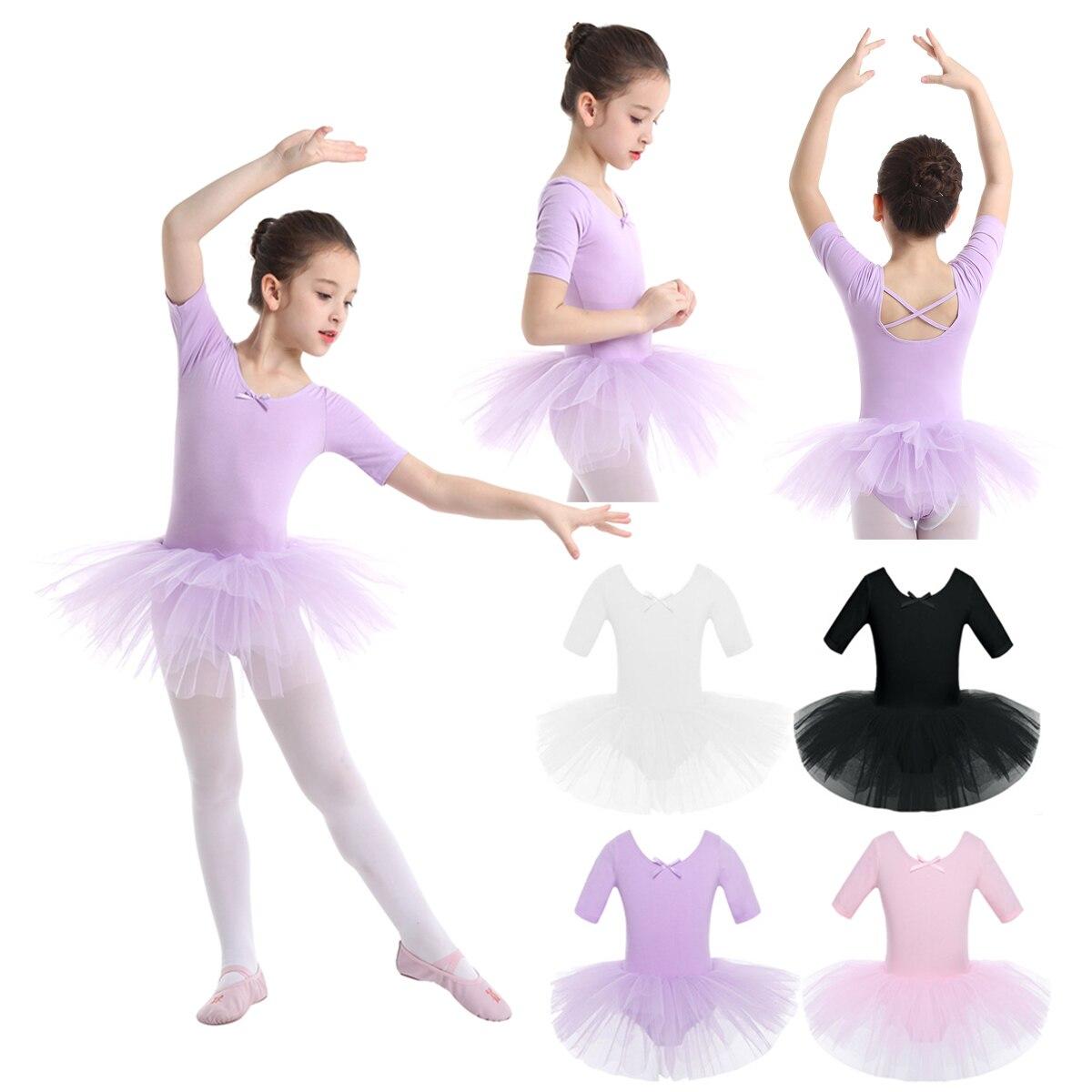 2-10 Years Kids Girls Tutu Ballerina Dancewear Short Sleeve Cotton Tulle Ballet Dance Gymnastics Leotard Performance Tutu Dress