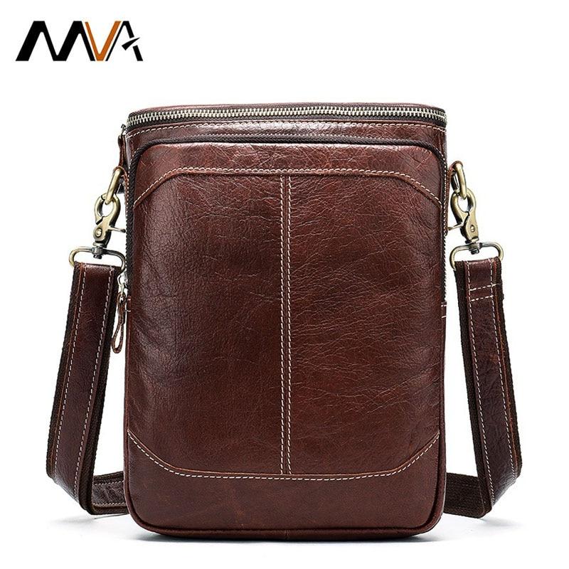 Mva bolsa de ombro de couro genuíno titular do cartão de visita crossbody cruz corpo sacos para homens retro moda casual masculino designer saco