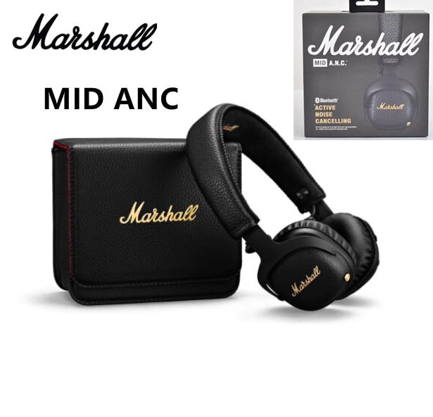مارشال ميد ANC نشط إلغاء الضوضاء سماعات على الأذن سماعة لاسلكية تعمل بالبلوتوث سماعات عميق باس طوي الرياضة سماعة الألعاب
