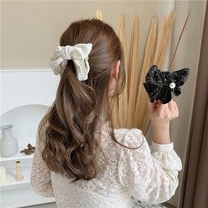 Oversized Bow Hair Accessories Fashion Fabric Pearl Hairpins Big Bow Hairpins Women Girls Ladies Hairpin Cute Headwear Hair Clip