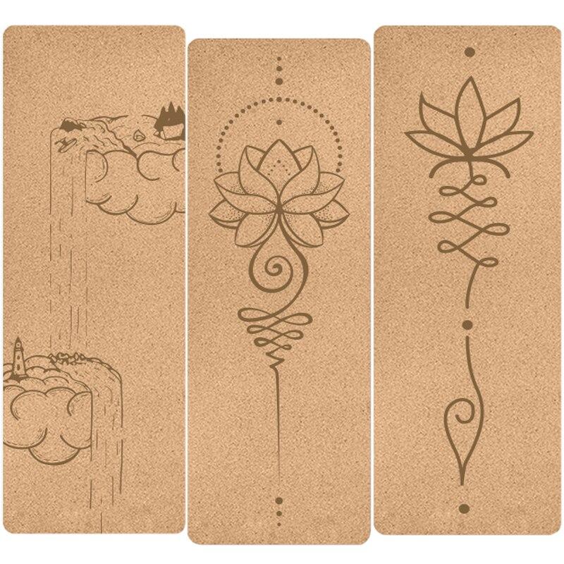 Пробковый коврик для Йоги (183x61x0,4 см/16 рисунков) с гравировкой