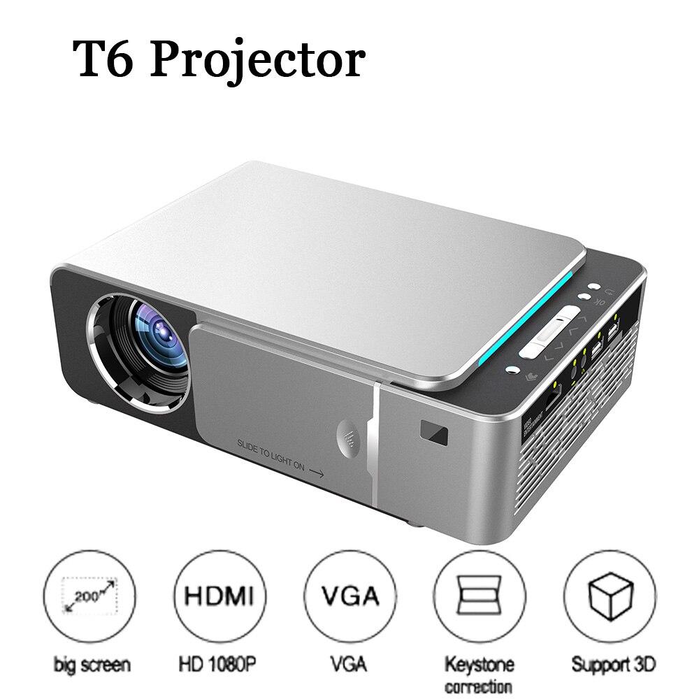 T6 Proyector Full HD Led Mini Proyector 3500 Lum HDMI USB 1080p Video Proyector Wifi Android portátil de cine en casa de Projetor