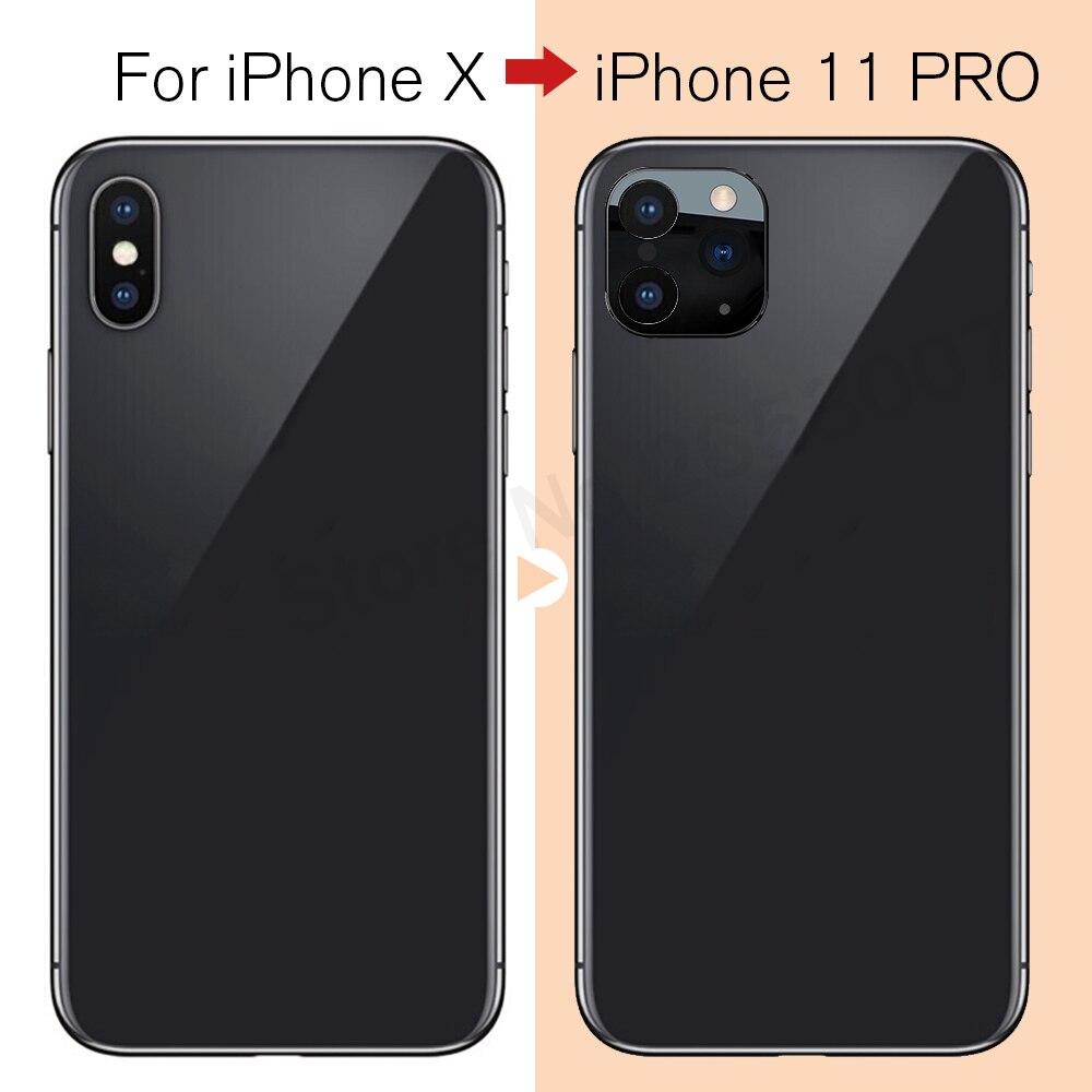 Lente de cámara con cambio de segundos para iPhone 11 Pro Max, anillo de aluminio Protector de Metal para iPhone X XS MAX a 11Pro Max, lente de cámara