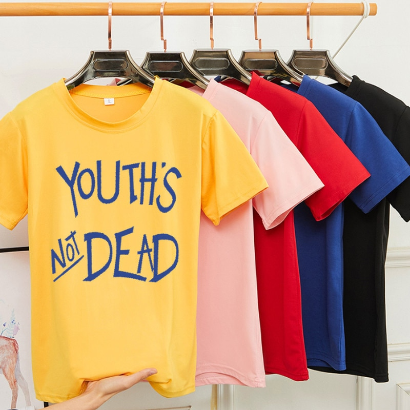 Summer Round Neck Short Sleeve Women T-shirt Letter Print Tee Couple Loose Tops Harajuku Tshirt Female Bottoming Shirt S-3XL