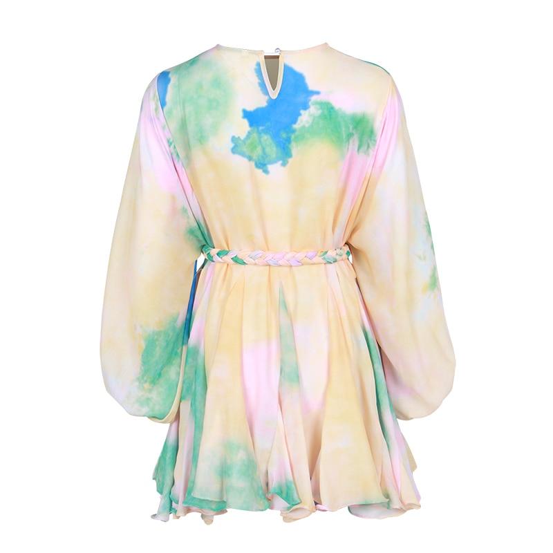 Casual moda Die tinte dibujo vestidos mujeres Puff manga O cuello de alta cintura de encaje Up femenino Mini vestido primavera 2020