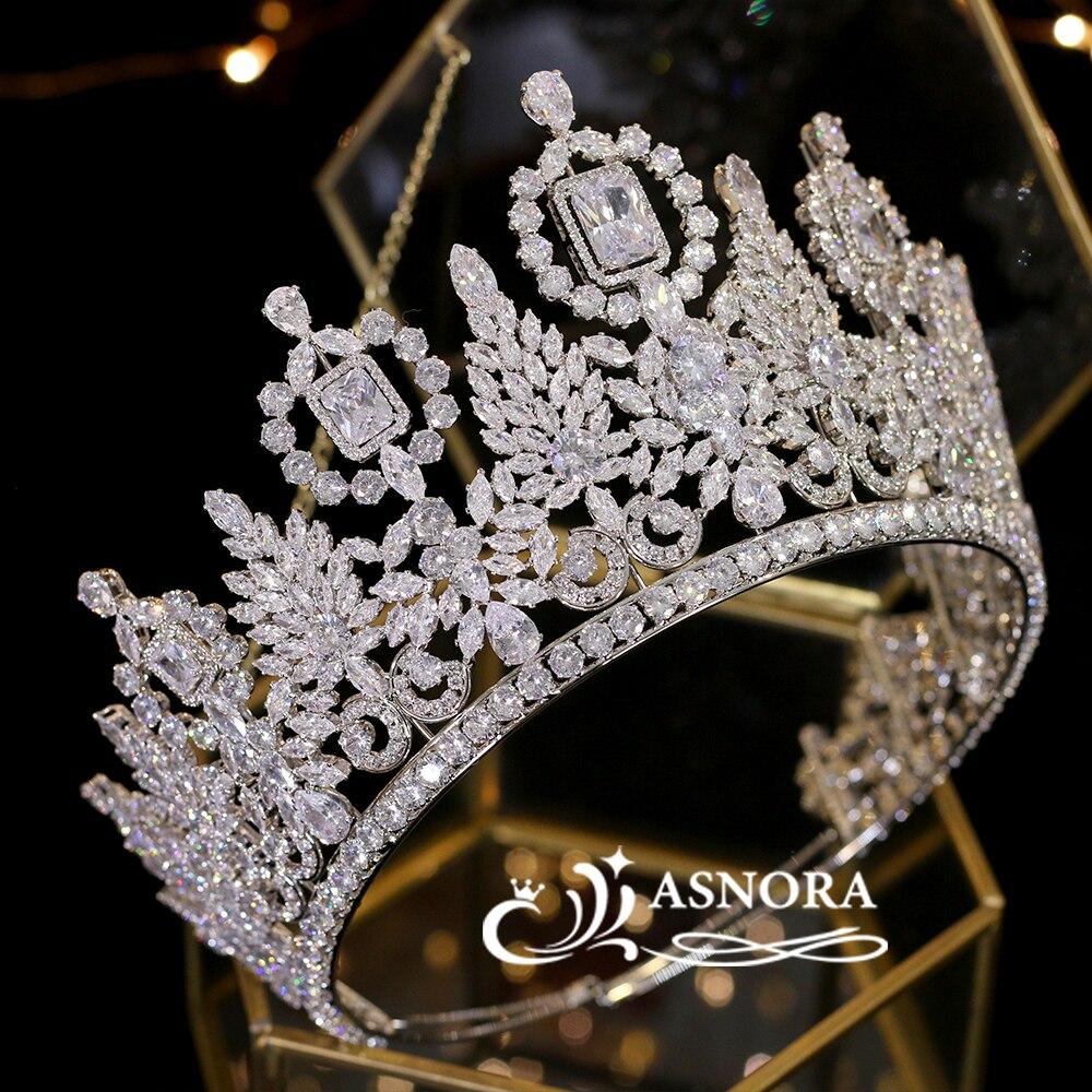 Luxo miss universo grande coroa de cristal de casamento coroa noiva headdress desfile graduação coroa cz tiara jóias não descoloração
