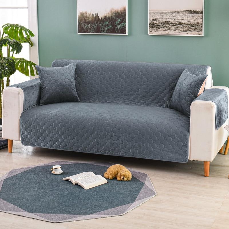 غطاء أريكة قطيفة للتدفئة في الشتاء ، لغرفة المعيشة ، رمادي ، قهوة ، بيج ، وسادة أريكة ناعمة ، حديثة ، غير قابلة للانزلاق ، منشفة أريكة