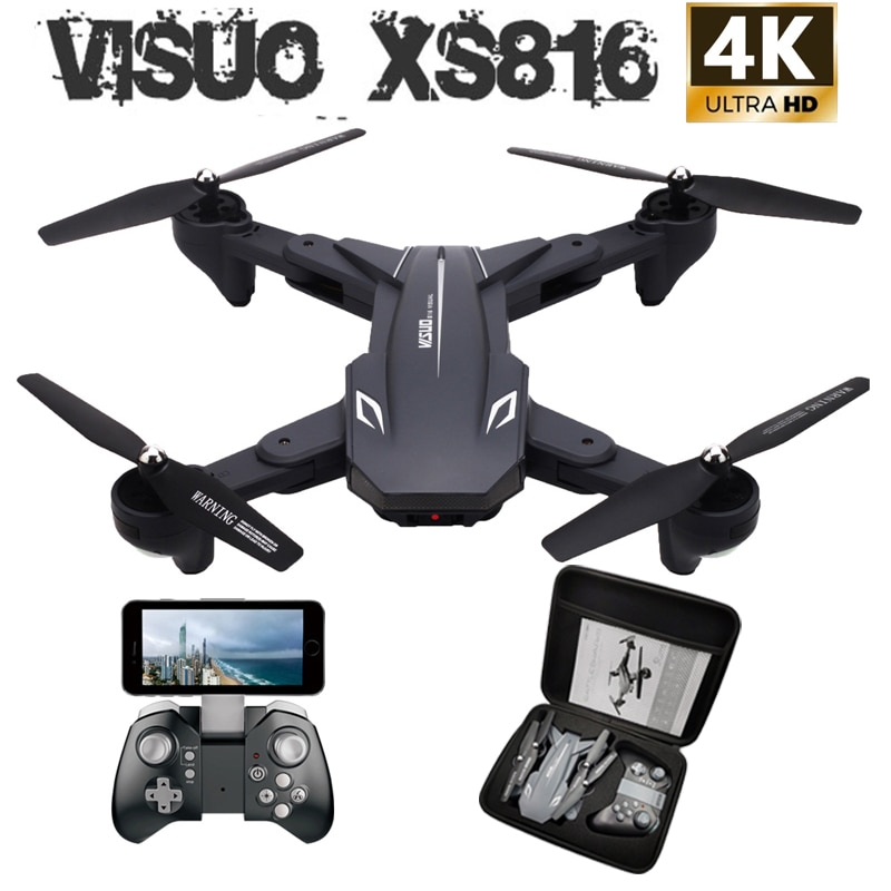 Visuo XS816 WiFi FPV RC Drone 4 K كاميرا البصرية تدفق 720 P كاميرا مزدوجة أجهزة الاستقبال عن بعد طوي Selfie Dron VS XS809S XS809HW SG106