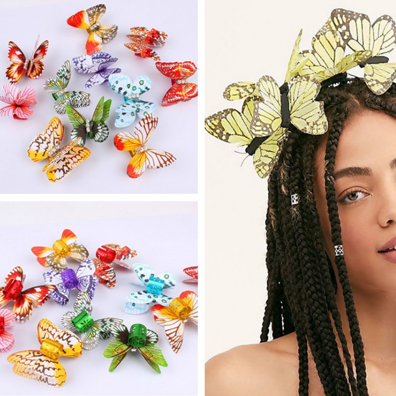 10 unids/set de simulación de Color mariposa accesorio de pelo con anillo de aluminio Color cuentas para pelo para Reggae Hip Hop rastas anillos de pelo