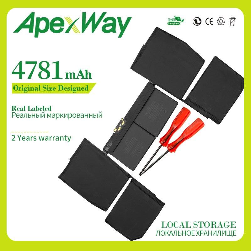 "Apexway 11,4 V 4781mAh A1705 batería de ordenador portátil para Apple Macbook Pro 12 ""A1534 2016 con batería de destornillador"