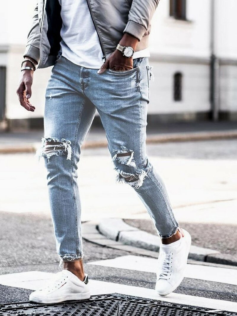 Мужские рваные джинсы уличной моды Одежда узкие брюки синий Классический бренд мужские джинсы высокого качества узкие джинсовые Брюки-стр...