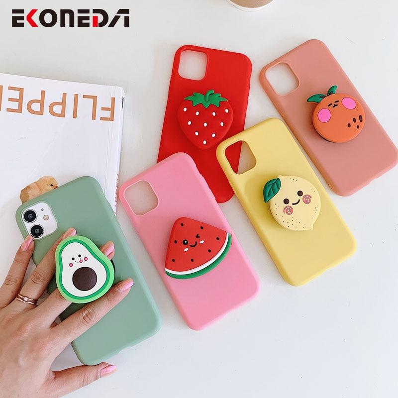 AliExpress - EKONEDA Phone Holder Case For Samsung Galaxy A50 A51 A70 A71 S20 Ultra S10 S9 S8 Note 8 9 10 Plus Cute Fruit Stand Soft Shell