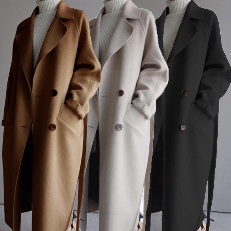Abrigo de lana elegante para Mujer, sobretodo de longitud media a la...