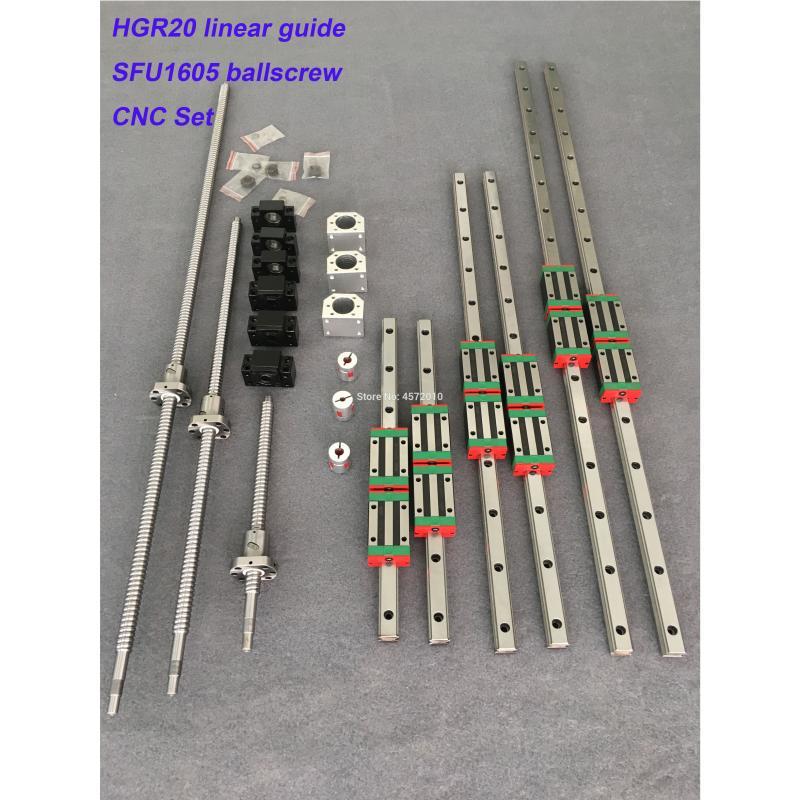 Hgr20 مربع الخطي دليل السكك الحديدية 6 مجموعة Hgr20 - 400/860/1240 مللي متر + Sfu1605 - 350/800/1120/1120 مللي متر Ballscrew + Bk12 Bf12 Cnc أجزاء