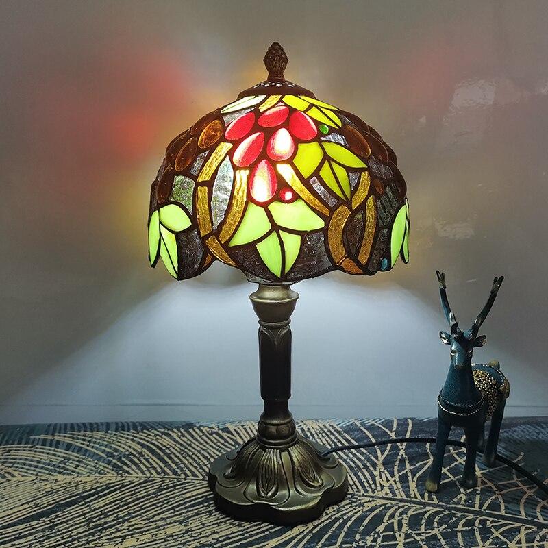 WOERFU Tiffany lampe de Table 20cm verre Lampshape E27 chambre chevet éclairage créatif mode résine Base lampes de Table