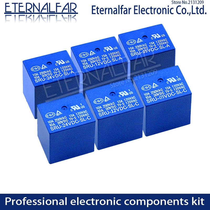 Tempo Relè SRD-48VDC-SL-C 5V 6V 9V 12V 24V 48V DC 10A 125V 250V AC SPDT NO Typc UN 4PIN SPDT B-M Typc C 5PIN PCB T73