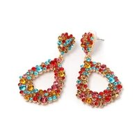 geometric design woman earring colorful zircon stone trend big earrings for women 2021 wholesale wedding statement ear ring za