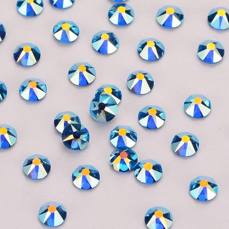 8 Big 8 Small Capri Blue AB Rhinestones Shimmer FlatBack No-HotFix Facets Cut Golden Back