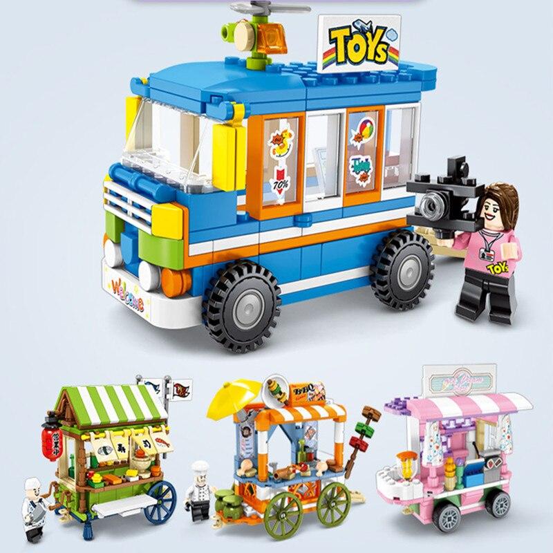 Mini City serie para la calle comida dulces Pizza helado crema de leche tienda de té librería bloques de construcción juguetes educativos para niños