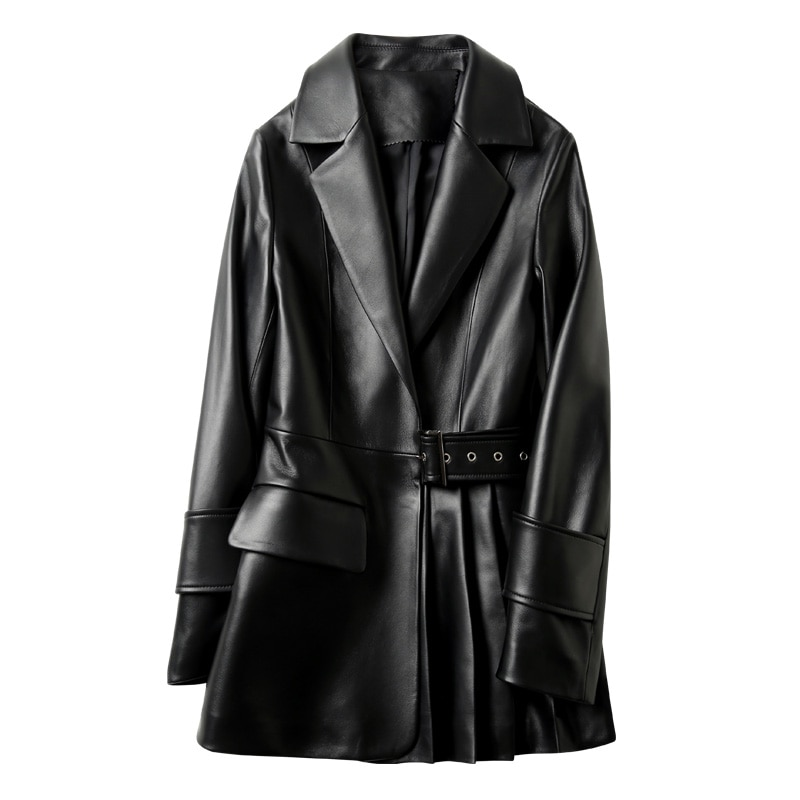 Nerazurri الخريف سترة جلدية سوداء المرأة طويلة الأكمام حزام جيوب الربيع أنيقة أنيقة لينة فو معطف جلد 2021