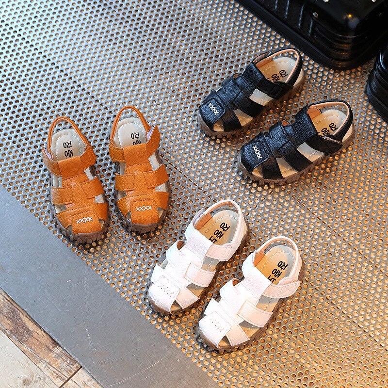 Kids Sandals Girls 2021 Summer No-slip Flat Sandals Children Boys Beach Shoes Soft Leather Colse Toe