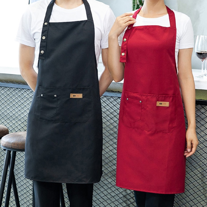 New Pure Color Cooking Kitchen Canvas Apron Unisex Woman Men Chef Waiter Cafe Shop BBQ Hairdresser Aprons