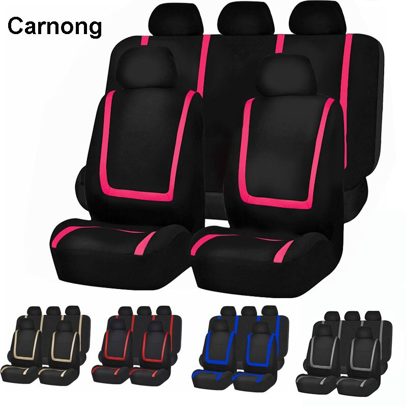 AliExpress - Carnong Car Seat Cover Universal Pink Protector Hatchback Sedan Pickup Front Rear Full Set  Vehicle Auto Interior Accessories