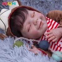 lifelike smiling fiber hair reborn baby dolls 50 cm super soft silicone cloth body reborn bebe toys kid childrens day gifts