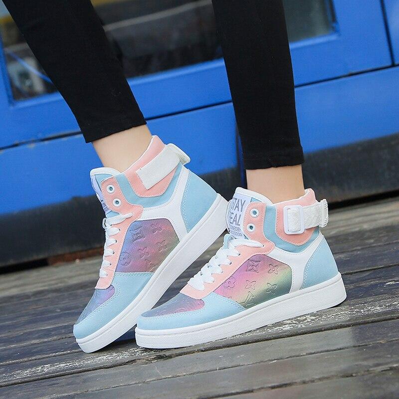 Couro genuíno alta superior das sapatilhas femininas moda sapatos de skate rendas até retalhos sapatos casuais femininos superstars xu135