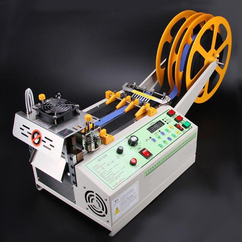 آلة قطع حزام القماش الساخن والبارد للكمبيوتر 140T ، آلة قطع الشريط السحري اللاصق بسحاب ، قطع حزام مرن أوتوماتيكي