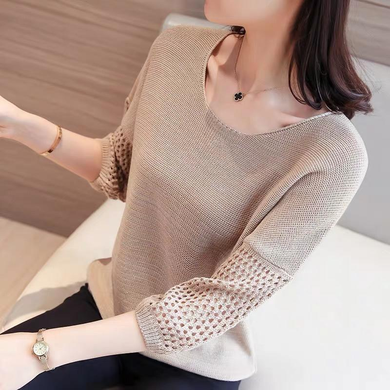 2021 new cut-out blouse thin loose women's short sleeve bottomed sweater medium sleeve top cut out sleeve plain top